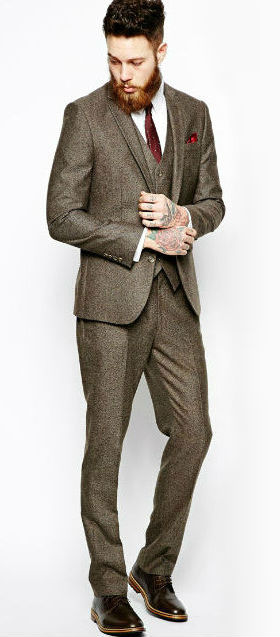 Brown Herringbone Tweed 3-Piece Suit