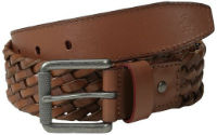 Original Penguin Brown Braided Leather Belt