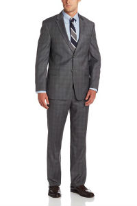 Tommy Hilfiger Gray Plaid Two-Button Suit