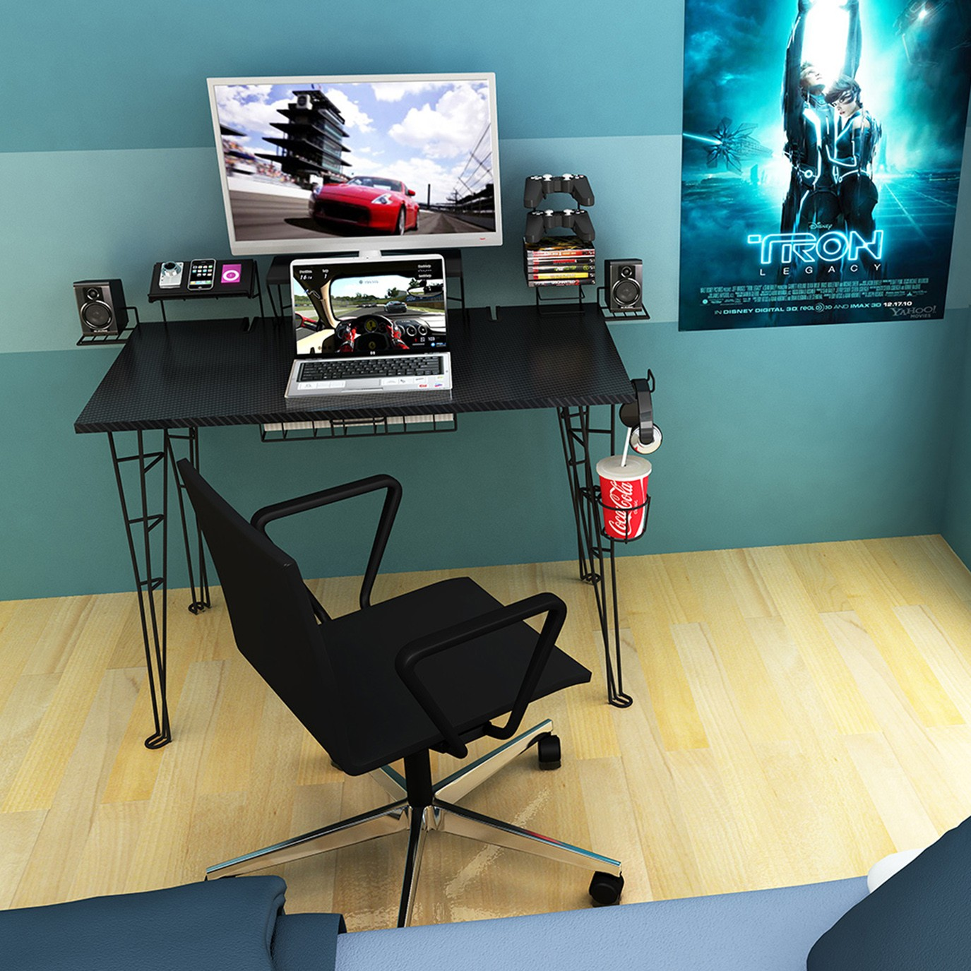 diy gaming pin computer small desk ideas saving tags space picture l awesome custom corner
